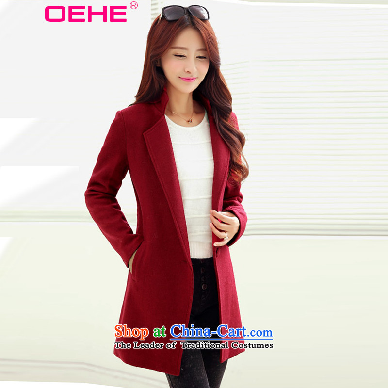 Install the latest Autumn 2015 OEHE, Korean long jacket, Sau San stylish girl video thin lapel long-sleeved gross wine red cloak?聽M