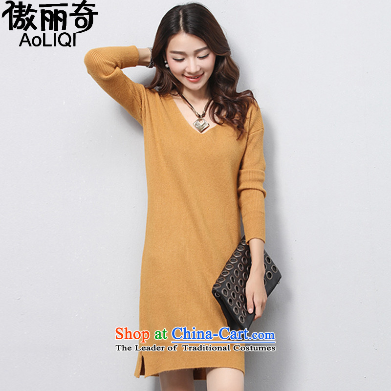 The United Lai Chi 2015 Fall/Winter Collections new Korean version of large numbers of women in the long forming the Netherlands long-sleeved sweater knit-coated apron AQ1217 female clothes  Yellow XL