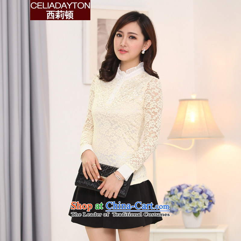 Szili autumn 2015 Ms. Load Clinton long-sleeved shirt thick mm sister, forming the basis to increase the number of women who are temperament ELASTIC LACE shirt aristocratic ladies check with flower patterns apricot color with lint-free�L