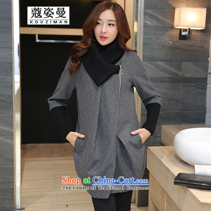 Gigi Lai Man to Khao Lak xl women's gross? 2015 autumn and winter coats of Korean version of the new video in thin people thick long hair? jacket thick mm female cardigan 4XL(165-180) Gray