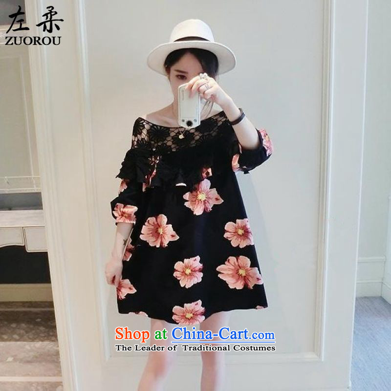 Left soft   Korean to 2015 XL women 200 mm thick summer catty thick black hook flowers sister engraving graphics thin skirt suits XXXXXL 180-200 catty