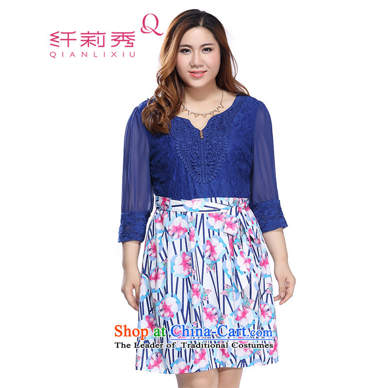 The former Yugoslavia Li Sau 2015 autumn large new mount female stylish V-Neck Lace Embroidery stitching fresh dress Subhead _No. Blue2XL