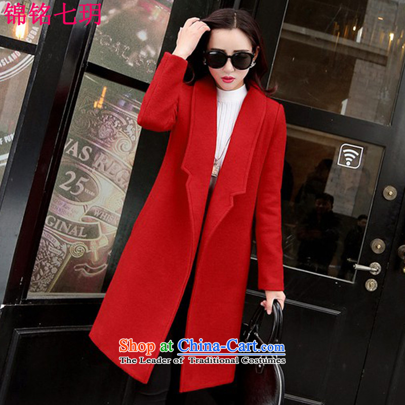 Kam Ming Yue? female coats seven winter 2015 Korean version of the new thickening of female Sau San Mao jacket?? In coats long woolen coat female red plus lint-free燣
