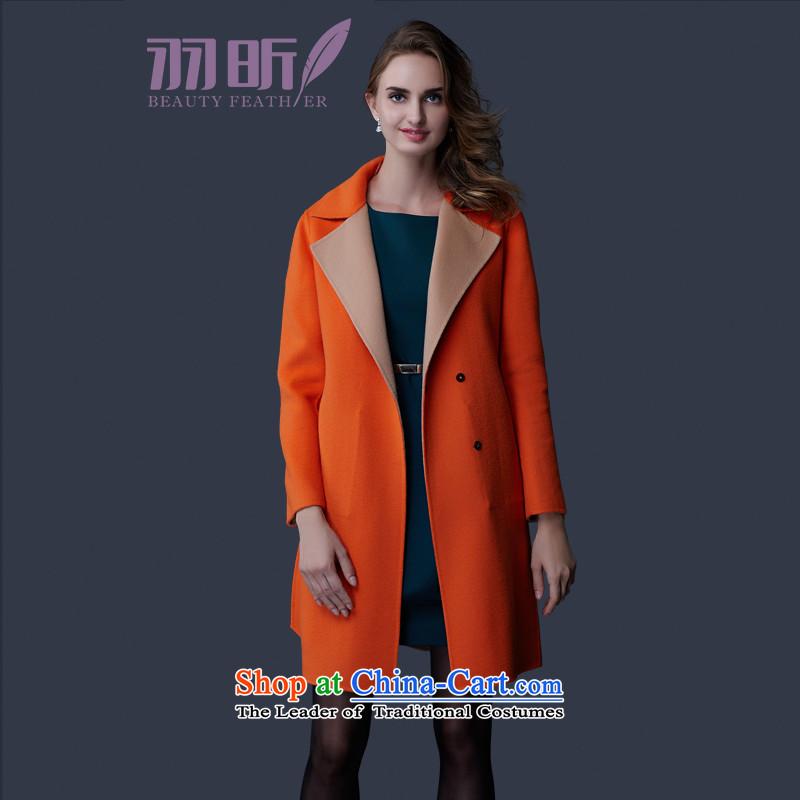 Yu Xin female plain manual duplex coats female gross? cashmere overcoat 2015 new spring and autumn in gross? jacket OL long coats gross? female orangeL