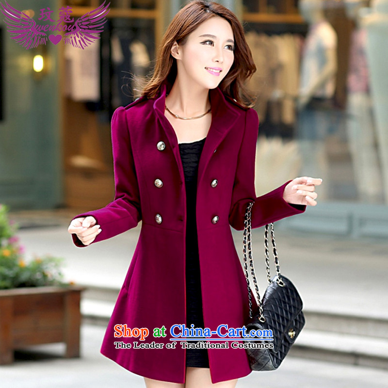 Coco Lee Curtis Institute gross? 2015 winter coats female new women's double-windbreaker. Long hair a wool coat female N002 wine red L