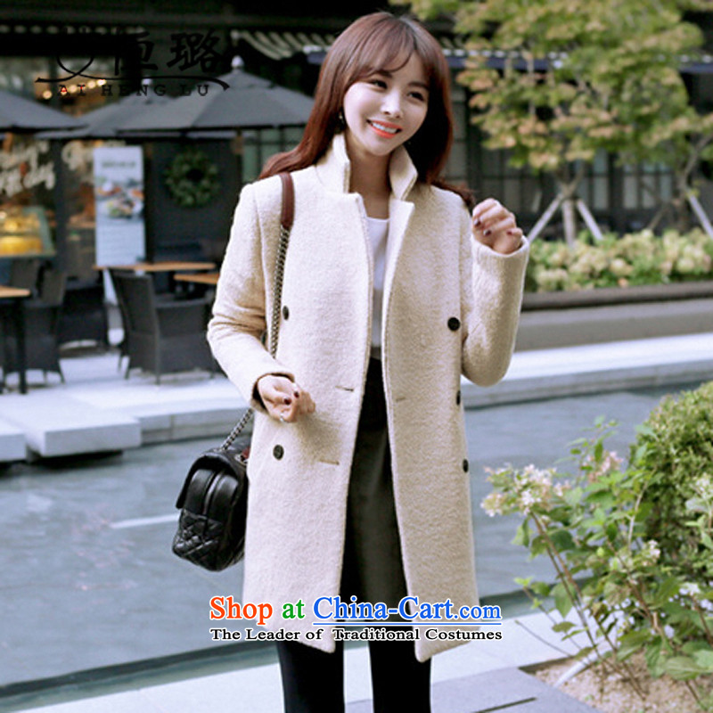 Xu Jialu 2015 Europe HIV hang autumn and winter new stylish girl jackets, long, thick wool coat? m White XXL