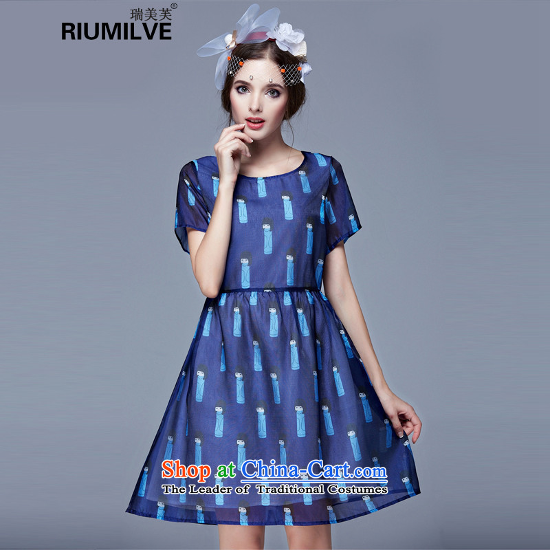 Rui Mei to to increase women's code for summer 2015, Europe and the new mm thick Foutune of video thin puppet stamp the yarn short-sleeved dresses N3695�L blue
