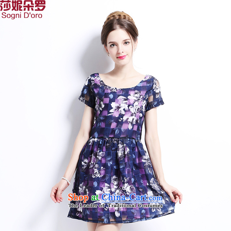 Luo Shani Flower Code women's dresses thick sister summer Foutune of video port to increase coltish code thick mm dresses, 2,668�L violet