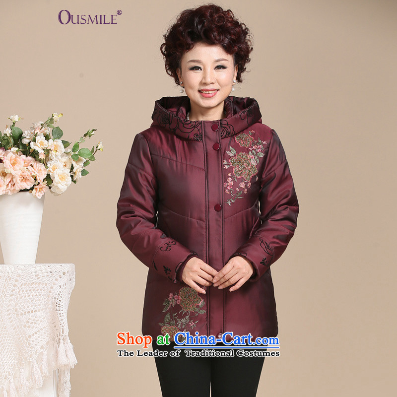 In 2015, the elderly woman ousmile replacing winter coat with thick middle-aged mother robe embroidered winter clothing larger female jackets cotton coat 0133 0133, wine red XL