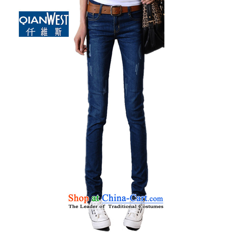 At 2015 KVA autumn and winter thick new larger female 200 catties thick MM stitching elastic wild stylish jeans 2,122 dark blue velvet, without the burden of recommendations 160-175 4XL