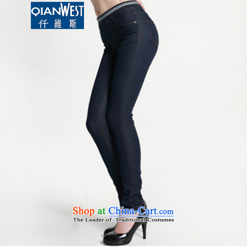 The Scarlet Letter, larger female thick sister thick jeans 2015 autumn and winter new Korean version of large numbers of ladies thick MM Stretch thick dark blue jeans 2163 plus recommendations 175-215 5XL lint-free catty