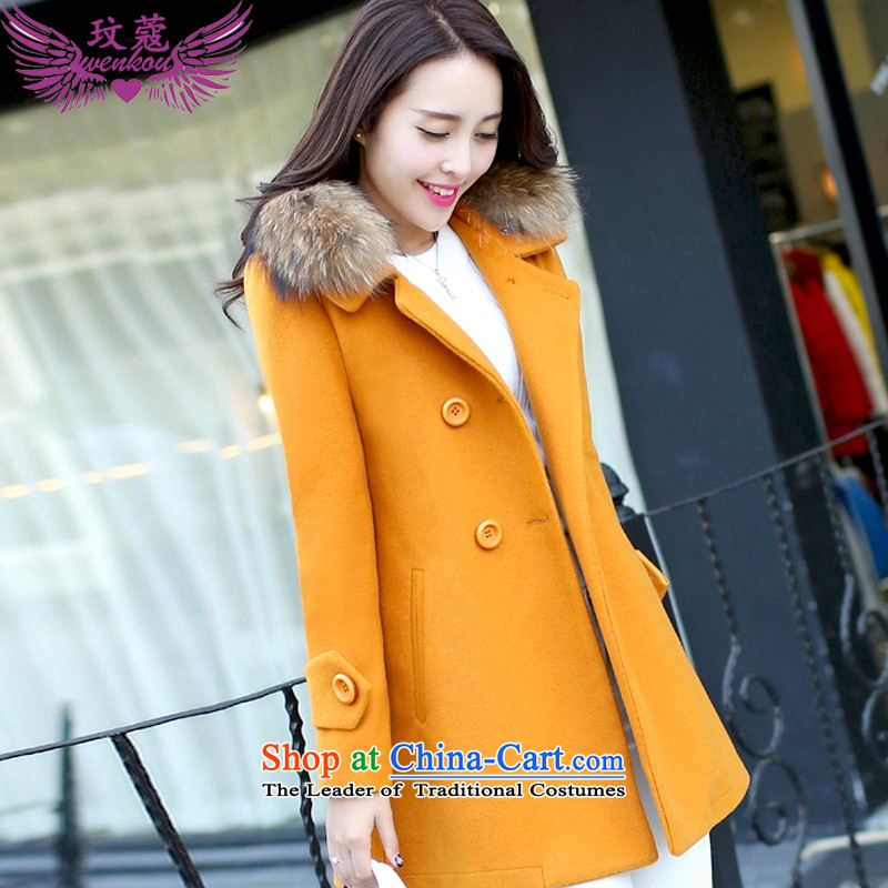 Coco Lee Curtis Institute for larger women 2015 winter clothing new women's gross collar double row is long coats female jacket gross? JD02 Yellow燲L
