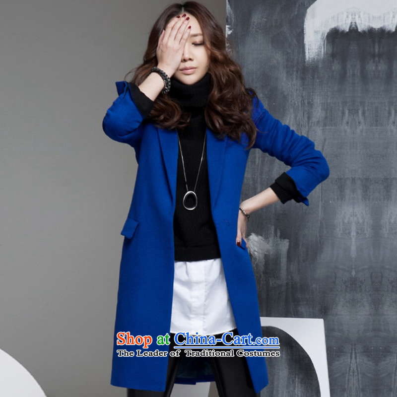 燭he Korean version of leisure in ouline long jacket coat gross? deep blue jacket women gross Sau San? blue燲L