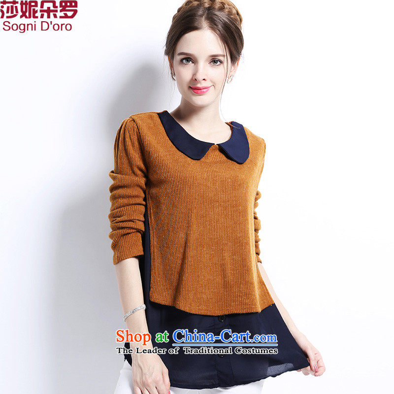 Luo Shani flower of ladies' knitted shirts code 2015 autumn and winter new liberal Korean fat mm long-sleeved shirt female clothes 2904爏tereo repair waist 5XL_ brown_