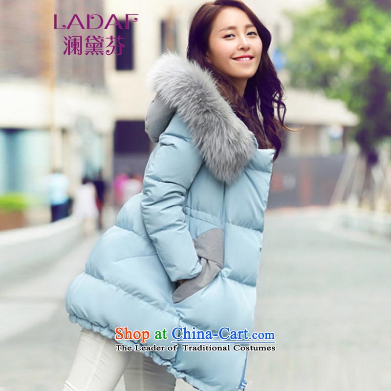 The World 2015 autumn and winter fun Doi new thick and long, Sau San cloak-Nagymaros collar down female 299 BLUE� XL
