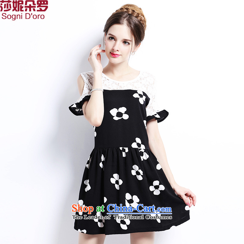 The latte macchiato, Shani to increase women's code 2015 new fat mm summer Foutune of video thin lace thick sister dresses elegant black�L_ 2663 calmly elegant_