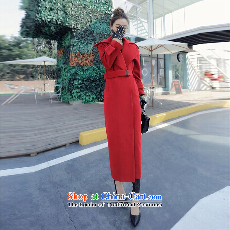 The Korean version of cadres Sheikh 2015 ultra long red cloak female long cashmere Sau San a trendy lapel a knee-coats red S