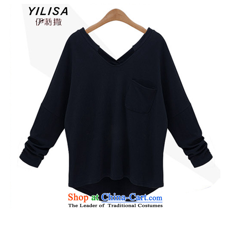 Elizabeth sub-large female autumn shirts 200 catties thick mm Fall_Winter Collections of T-shirts to xl bat sleeves wear loose video thin black聽5XL Netherlands 654