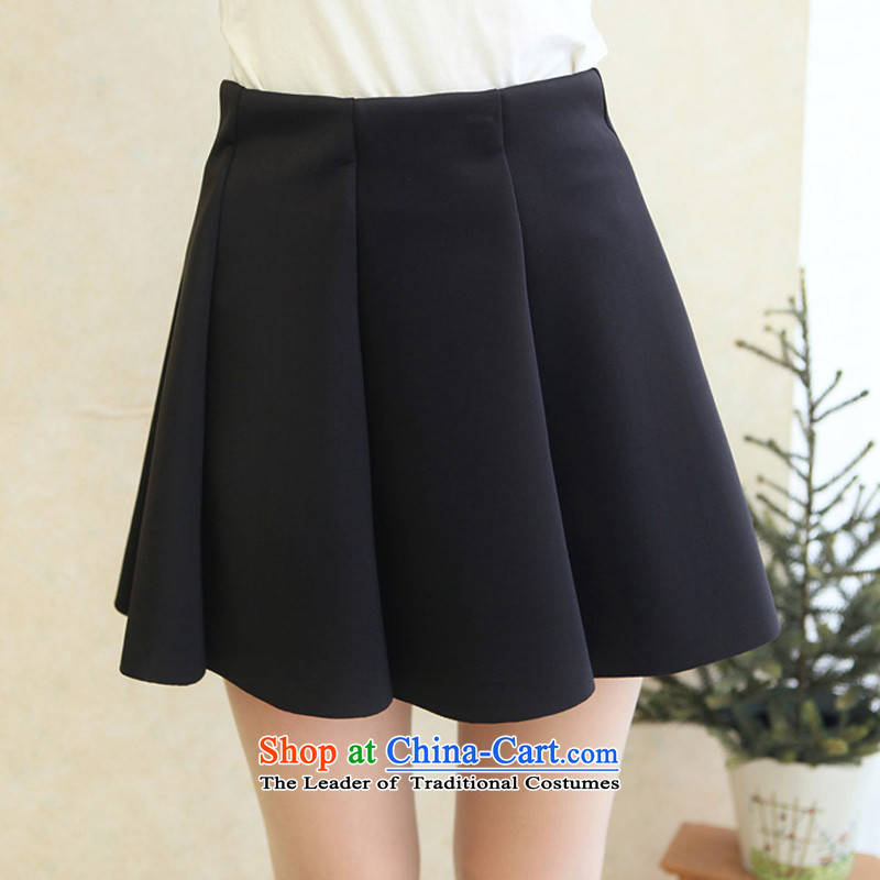The new large winter code Women Korean thick short skirt A Version field Top Loin of thick sister to increase short skirts 200 catties bon bon thick mm body skirt loose black�L code _weight 170-210_