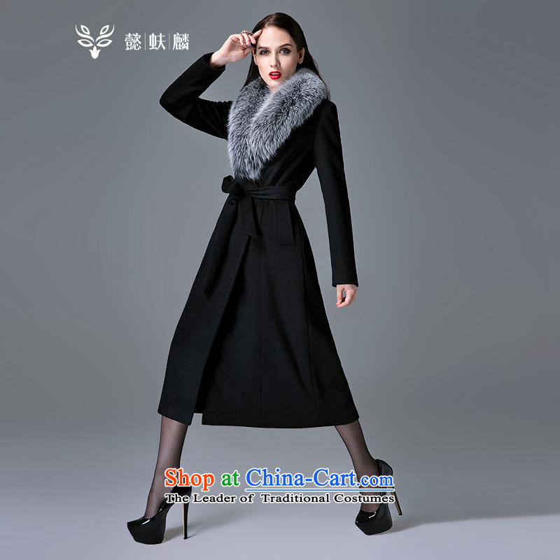 Headquarters or custom cashmere overcoat girls Chu 2015 autumn and winter new really gross for long coats fox gross? Jacket coat Western Wind black燣