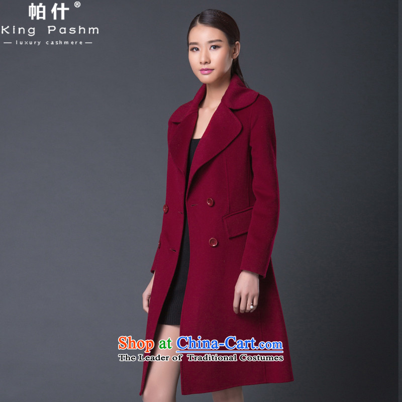 Ms. Patricia Bush Western style graphics thin hair?   double-sided cashmere overcoatYZL1522 coats,wine redS