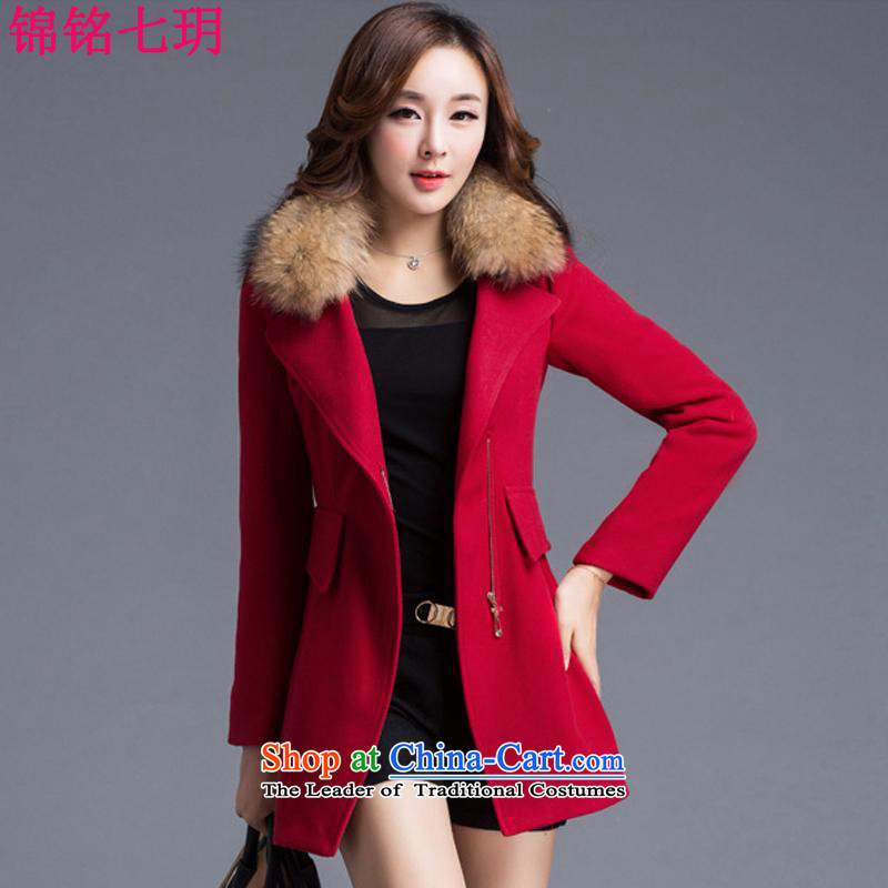 Kam Ming Yue? female coats seven winter 2015 Korean version of the new thickening of the girl on the Nagymaros for jacket?   in gross? coats of woolen coat female red燣