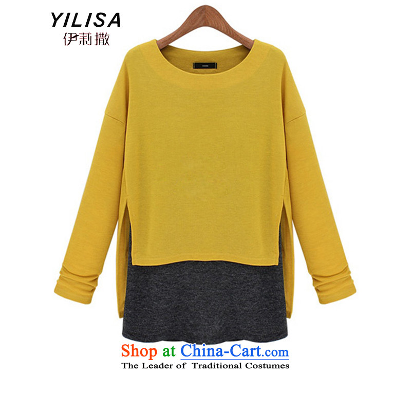 Elizabeth autumn 2015 sub-new products for larger female thick MM female Western Fall_Winter Collections new graphics thin Foutune of false two knitted sweaters K624 YELLOW聽5XL T-Shirt