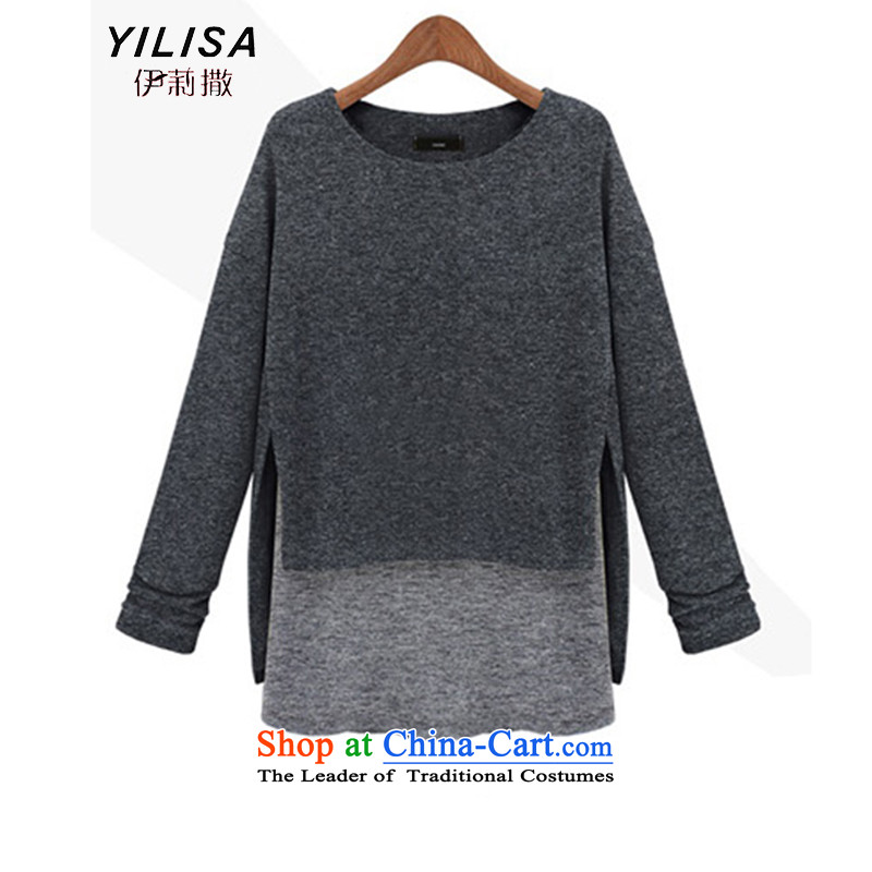 Elizabeth autumn 2015 sub-new products for larger female thick MM female Western Fall/Winter Collections new graphics thin Foutune of false two knitted sweaters K624 shirt yellow5XL, Elizabeth (YILISA sub-shopping on the Internet has been pressed.)