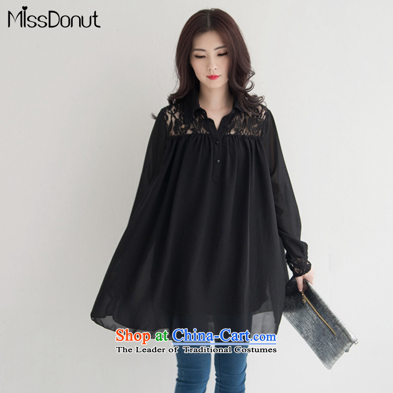 To increase the number missdonut women with new expertise autumn sister 200 catties shirt Korean thick, Hin thin large shirts, women's long-sleeved thin black large XXL recommendations 160-180 catty