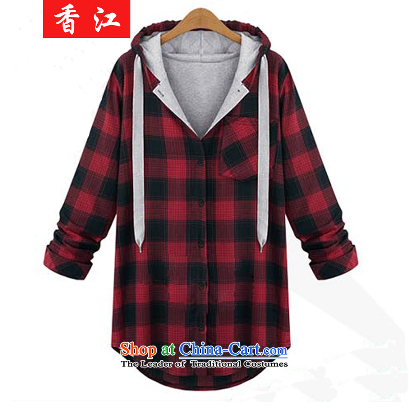 Xiang Jiang 2015 increased to autumn and winter female loose video in thin long thick mm larger segments of the king t-shirt   code sweater jacket 822 red checkered 5XL