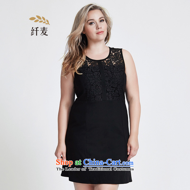 The former Yugoslavia Migdal Code women 2015 Autumn replacing new stylish mm thick lace stitching sleeveless dresses 953104261 Black XL