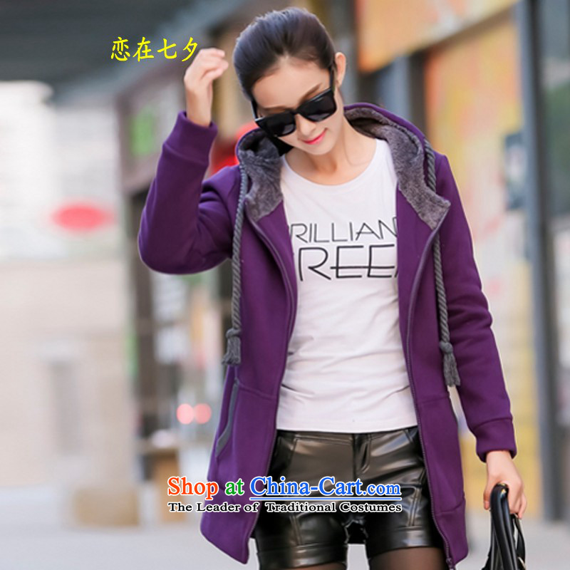 In winter qixi, the larger the girl jacket thick sister thick, Hin thin to intensify extra large 3X4X jacket plus lint-free sweater relaxd cardigan sweater girl jacket girl deep purpleXXL suitable for 158 - 170 catties catty