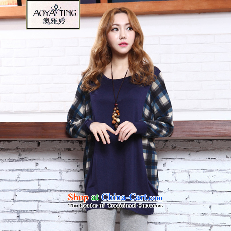O Ya-ting2015 autumn and winter new long-sleeved T-shirt to increase women's code thick mm video bat sleeves wear thin tartan shirt shirt 2,573 BlueXL165-240 recommends that you Jin