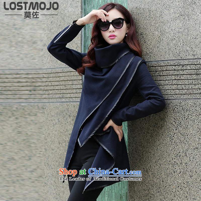 Lostmojo 2015 autumn and winter for women Foutune of gross Connie Sau San Mao cloak over the medium to longer term?_ Women's blouses coats聽8601聽Navy聽M