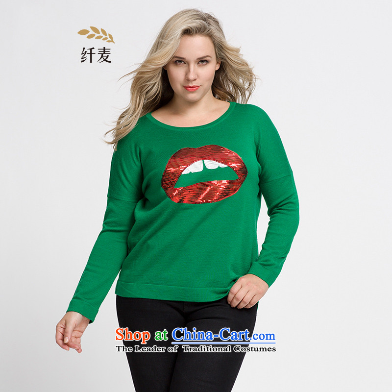 The former Yugoslavia Migdal Code women 2015 Autumn replacing new stylish mm thick red lips PEARL GREEN 3XL embroidered sweater 953133249
