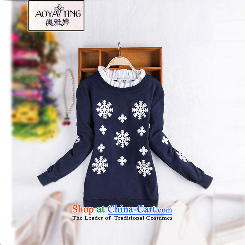 O Ya-ting 2015 autumn and winter new to increase women's code thick mm long-sleeved shirt women Sau San t-shirt, forming the reopening of the dark blue 3XL Netherlands recommends that you 160-200 catty