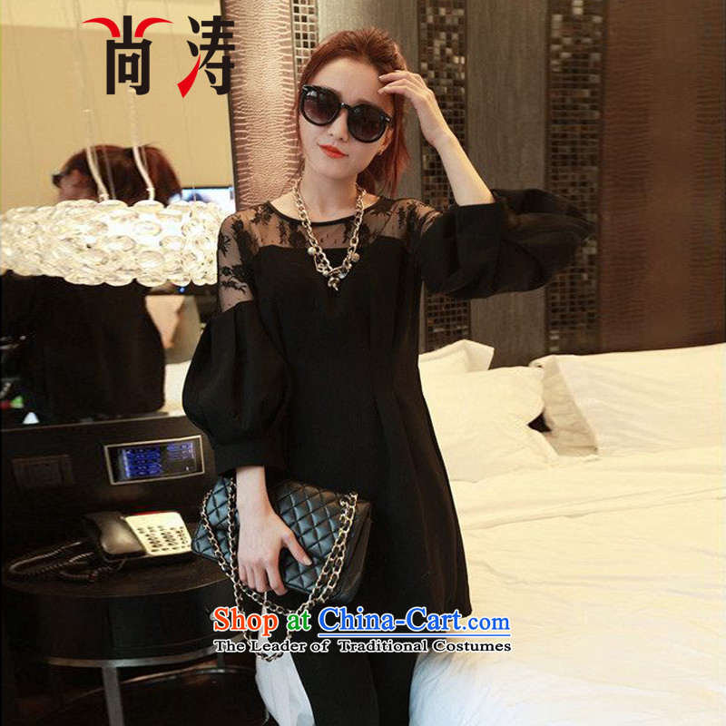 Is large 2015 Women's summer to intensify the kit fat mm video thin autumn chiffon lace shirt, long skirt B0712A�L_ recommendations 165-185 black catty wear_