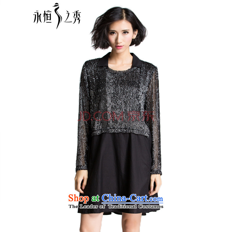 The Eternal-soo to xl women's dresses thick sister 2015 Autumn replacing new products, Hin fat mm thick thin, ultra stylish shirt collar long-sleeved black skirt?3XL