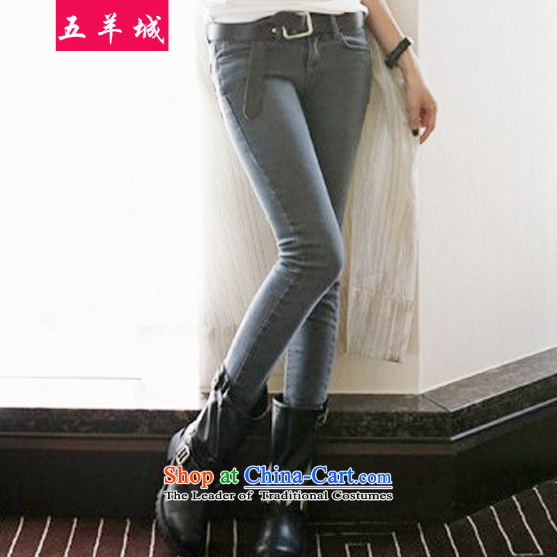 Five Rams City larger jeans thick girls' Graphics thin, autumn and winter new Korean autumn replacing large female pants thick MM soft casual pants 039 gray聽5XL wash recommendations about 180-200