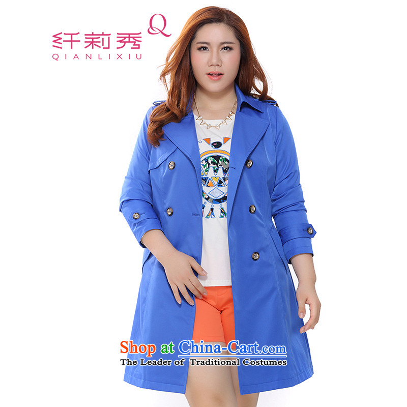 The former Yugoslavia Li Sau 2015 Fall/Winter Collections new larger female Western big long shoulder double-video thin long-sleeved jacket in 0025 Blue 4XL