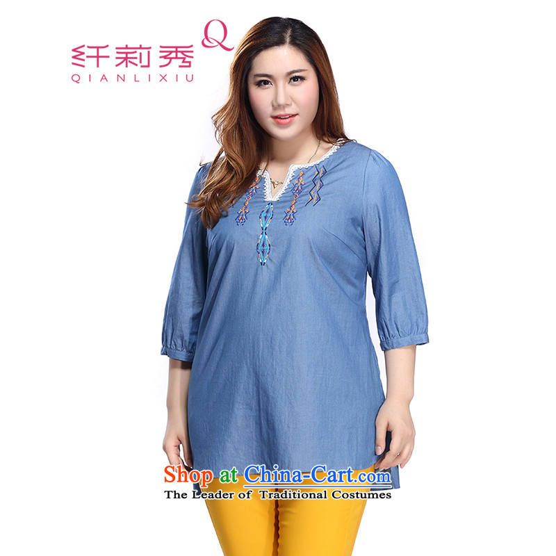 The former Yugoslavia Li Sau 2015 autumn large new mount female LACE EMBROIDERY V-Neck patterns thick MM video slender 0118 Blue?3XL Shirt