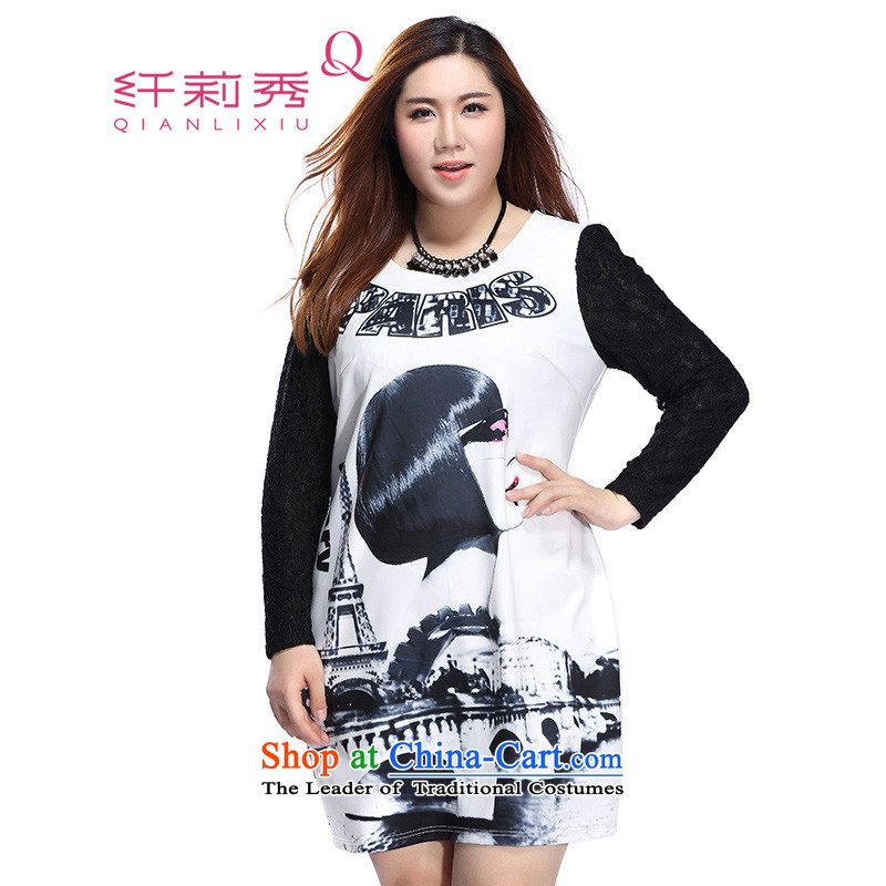 The former Yugoslavia Li Sau 2015 autumn large new mount female European site stylish round-neck collar exaggerated figures stamp Sau San dresses 0061 m White聽3XL