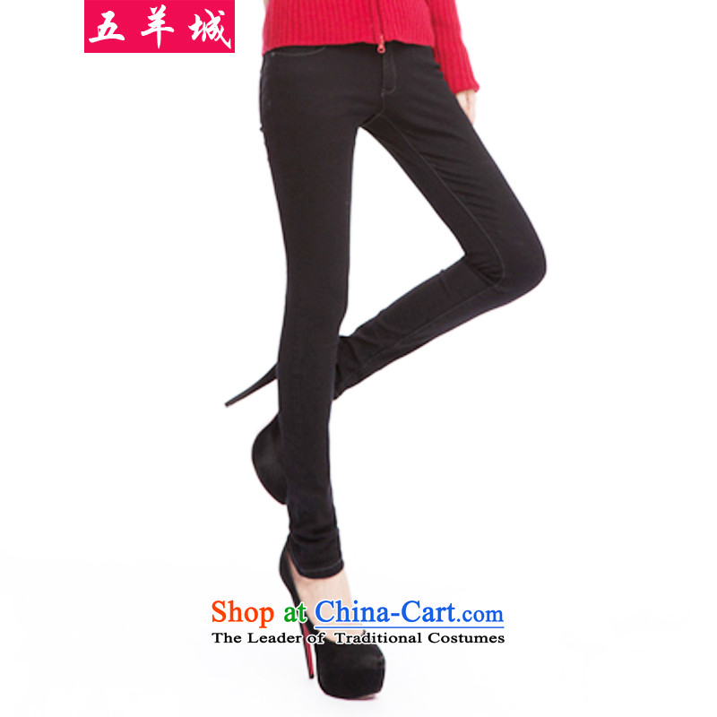 Five Rams City larger female winter clothing jeans 2015 autumn and winter new Korean version plus lint-free thick thick MM Stretch Dress Pants centers of high-load of 123 pants�L lint-free around 922.747 180-200 recommended