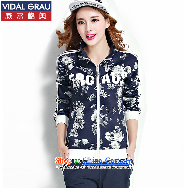 Large leisure movement VIDALGRAU kit female spring and autumn sweater to intensify the thick MM stylish two kits R9321 DARK BLUE 4XL/170-190 catty