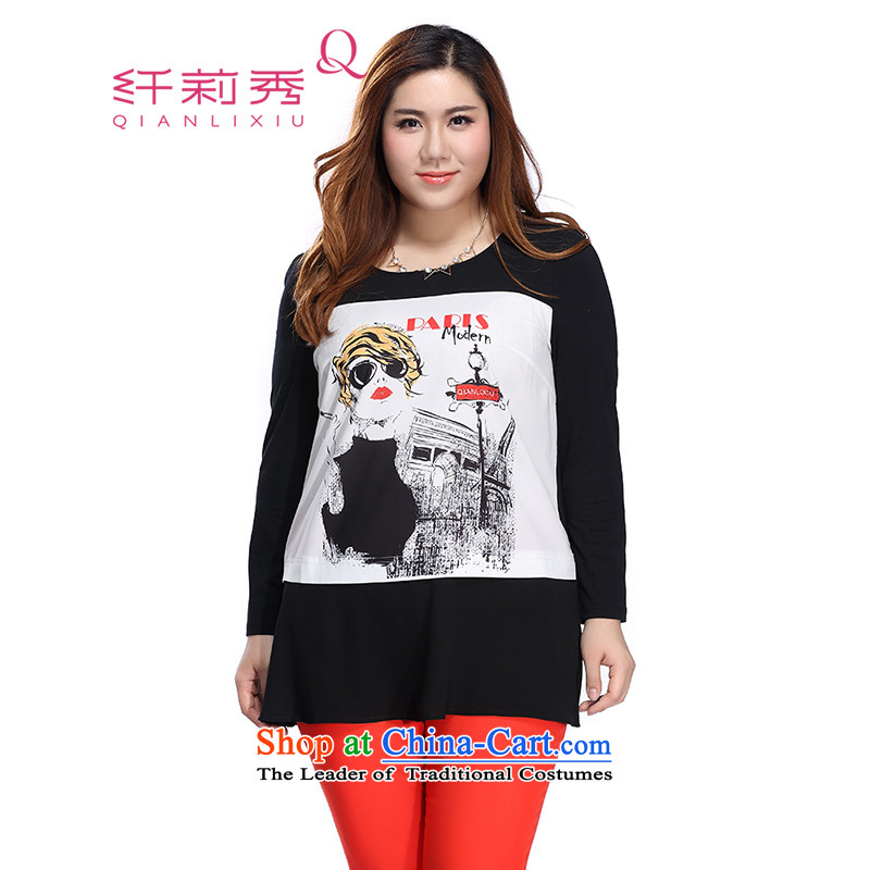 The former Yugoslavia Li Sau 2015 autumn large new mount female temperament round-neck collar knocked loose in-color printing long chiffon shirt Subhead _No.�L Black