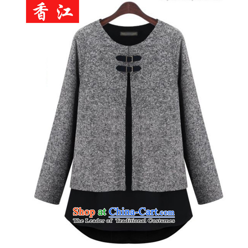 Xiang Jiang?2015 fall inside the new Fat MM larger women leave two long-sleeved T-shirt mantle to intensify the relaxd clothes video thin 200 catties?3XL Gray