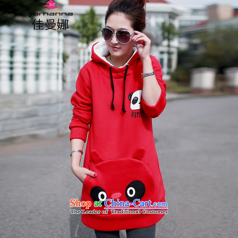 The Cayman�15 won good version of autumn and winter new larger female graphics thin dresses in MM thick long loose cap the lint-free thick pregnant women warm sweater燲XXL red