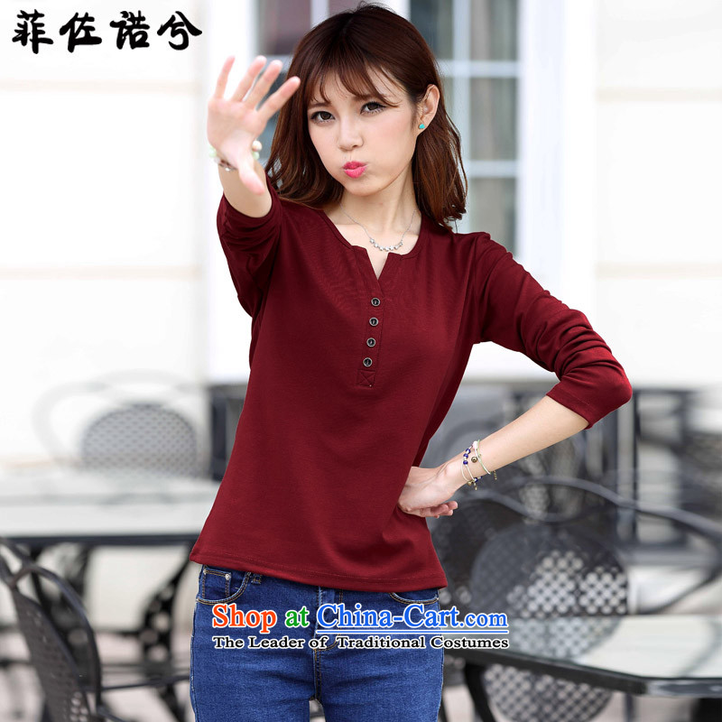 The officials of the fuseau larger female autumn and winter to xl V-neck shirt thick mm plus forming the lint-free thick thermal underwear wine red聽175-195 4XL catty