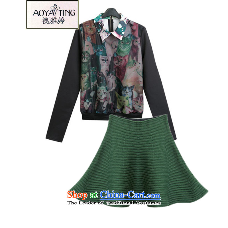 O Ya-ting�15 autumn and winter new to increase women's code thick mm video thin kitten alike pattern shirt + euro root yarn short skirts leisure wears the girl picture color�L two kits�5-200 recommends that you Jin