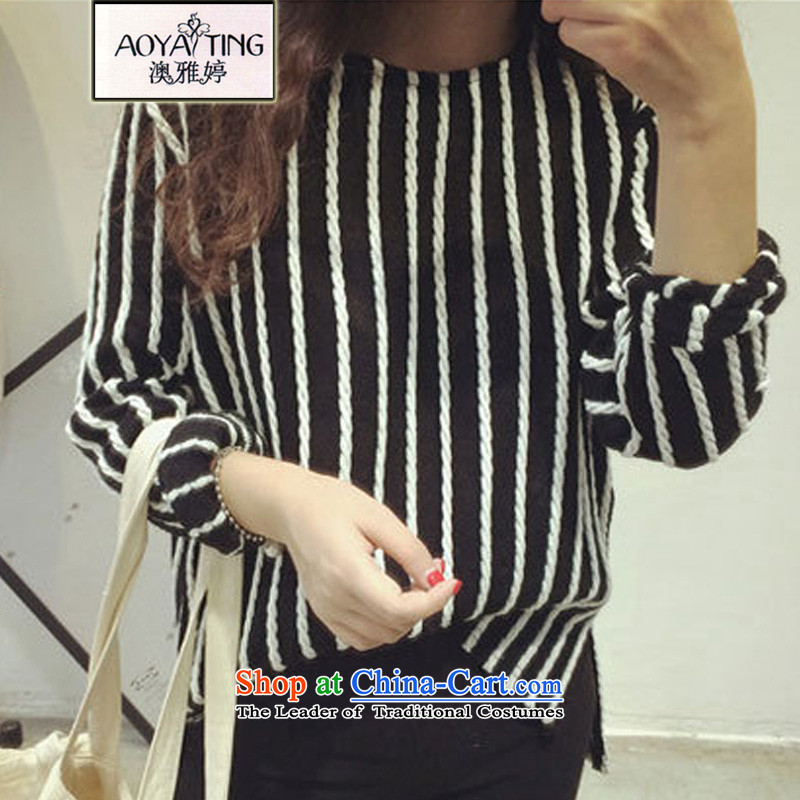 O Ya-ting2015 autumn and winter new to increase women's code thick mm video slender T-shirt shirt, forming the Streaks Korean women Knitted Shirt black4XLrecommends that you 160-180 catty